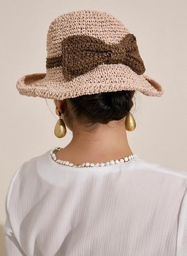 Morhipo Beach Fiyonk Detaylı Bej Hasır Şapka Pembe